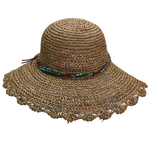 Scala Collezione Women's Crochet Seagrass With Beads Hats Natural