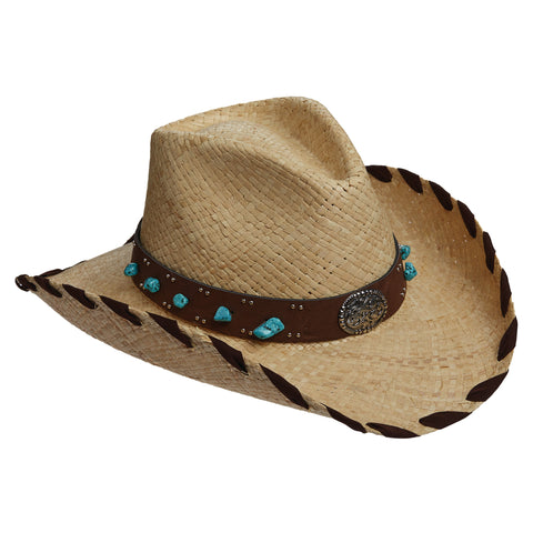 Scala Western Women's Pinch Front Raffia With Turquoise Hats Natural