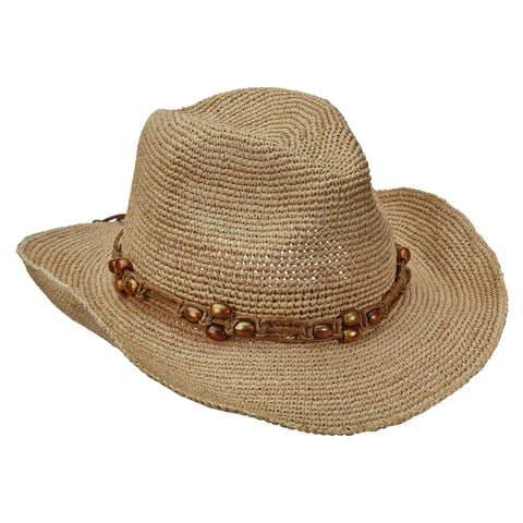 Scala Collezione Women's Fine Crochet Raffia Pinch Front With Beads Hats Natural