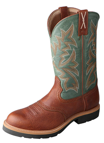 Twisted X Men's Cowboy Workboot Cognac Glazed Pebble/Dark Green