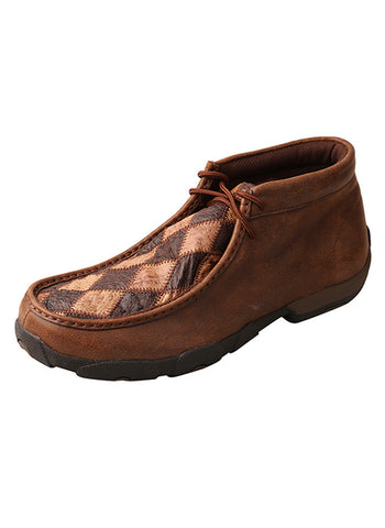Twisted X Men's Driving Moccasins Oiled Saddle Ostrich/Bomber Ostrich