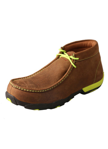 Twisted X Men's Driving Moccasins Distressed Saddle/Neon Yellow