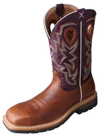 Twisted X Men's Lite Cowboy Workboot Grained Bomber/Purple