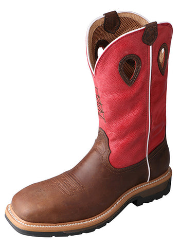 Twisted X Men's Lite Cowboy Workboot Distressed Latigo/Red