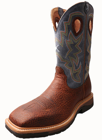 Twisted X Men's Lite Cowboy Workboot Peanut Distressed/Navy