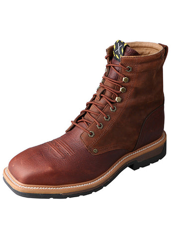 Twisted X Men's Lite Cowboy Lacer Workboot Brown/Rust