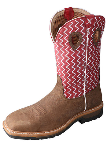 Twisted X Men's Lite Cowboy Workboot Distressed Saddle/Cherry