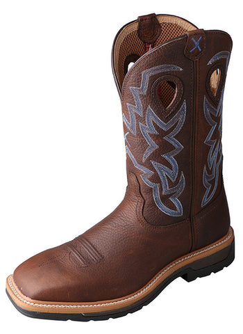 Twisted X Men's Lite Cowboy Workboot Brown Pebble/Brown Pebble
