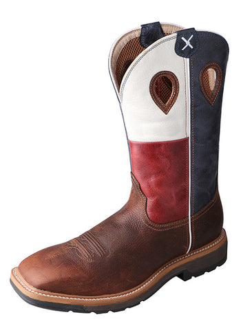 Twisted X Men's Lite Cowboy Workboot Brown/Texas Flag