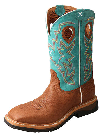 Twisted X Men's Lite Cowboy Workboot Cognac Bull Hide/Turquoise