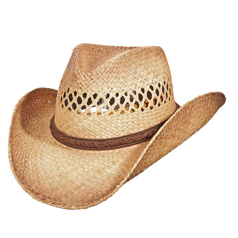 Scala Western Men's Burnt Pinch Front Raffia Hats Burnt