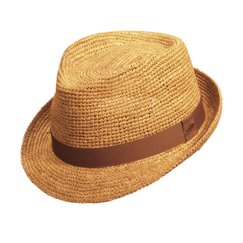 Scala Classico Men's Crochet Raffia Fedora With Ribbon Hats Tea