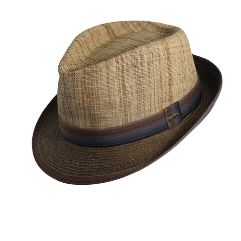 Scala Classico Men's Matte Raffia And Braid Fedora Hats Brown