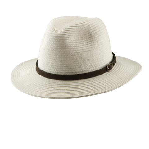Scala Classico Men's Paper Braid Safari With Leather Hats Ivory