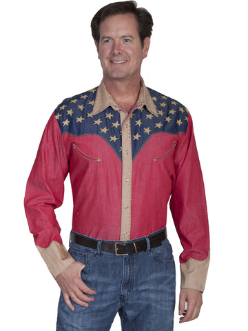 Scully P-850 Men's Patriotic Shirt With Pick Stitch Detail