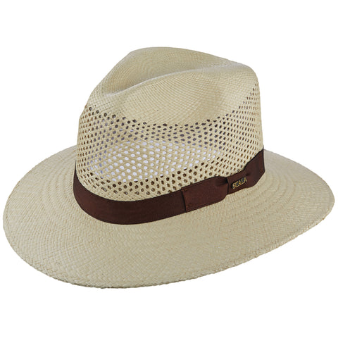 Scala Panama Men's Vent Panama With Ribbon Trim Hats Natural