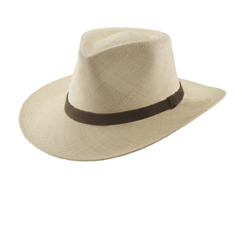 Scala Panama Men's Panama Outback With Leather Trim Hats Natural