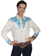 Load image into Gallery viewer, Scully PL-654 Women's Poly/Rayon Blend Snap Front Blouse