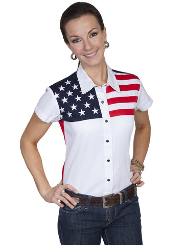 Scully PL-756SS Women's 100% Cotton Snap Front Cap Sleeve Blouse