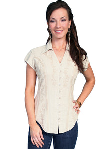 Scully PSL-066 Women's 100% Peruvian Cotton Capsleeve Blouse