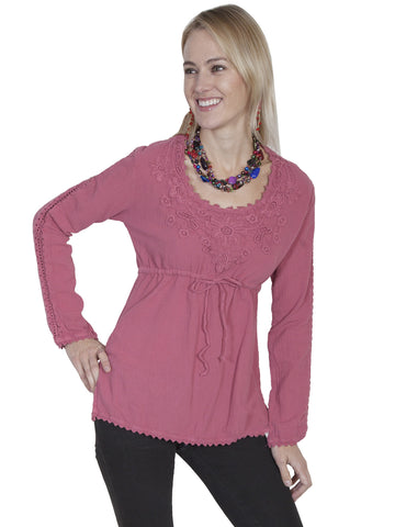Scully PSL-162 Women's Cotton Pullover Top With Long Sleeves