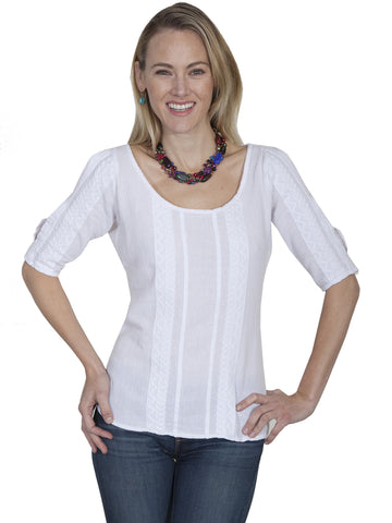 Scully PSL-178 Women's 100% Peruvian Cotton Pullover Blouse With Scoop Neck