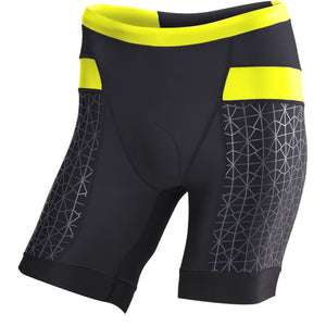 "TYR Men's 7"" Competitor Tri Short Black/Lime"