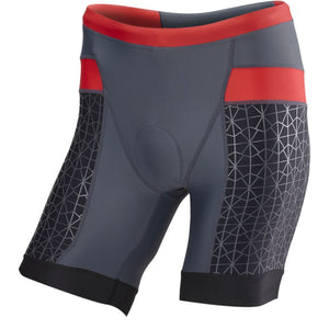 "TYR Men's 7"" Competitor Tri Short Grey/Red"