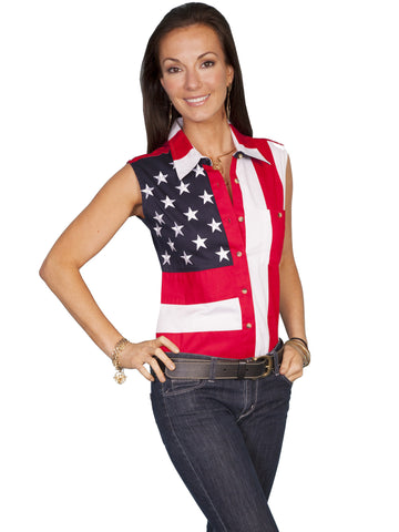 Scully RW029LSS Women's Patriot 100% Cotton Button Front Sleeveless Blouse