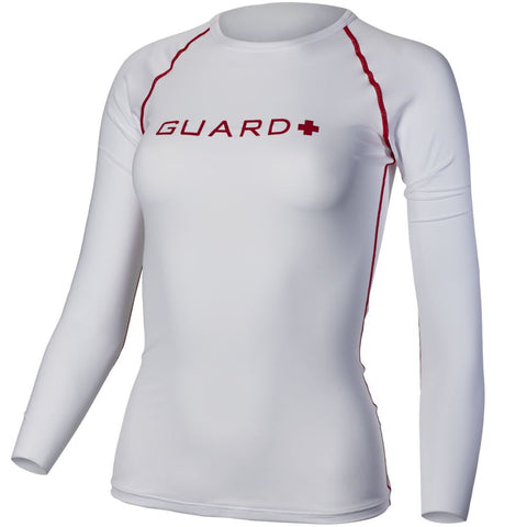 TYR Women's Guard Long Sleeve Rashguard Red/White