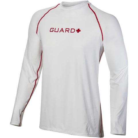 TYR Men's Guard Long Sleeve Rashguard Red/White
