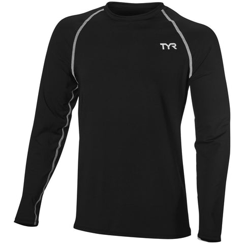 TYR Men's Long Sleeve Rashguard Black