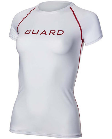 TYR Women's Short Sleeve Rashguard Red/White