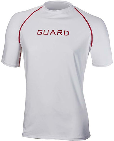 TYR Men's Guard Short Sleeve Rashguard Red/White