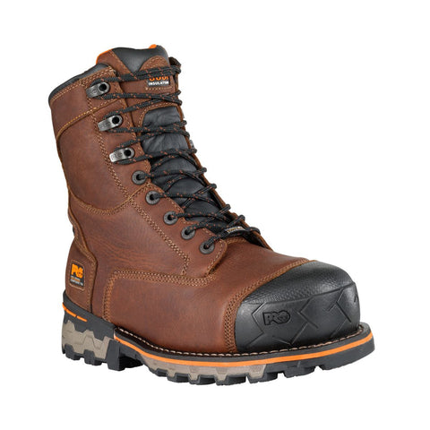 "Timberland PRO Men's Boondock 8"" Composite Safety Toe Waterproof Insulate Boot Brown"