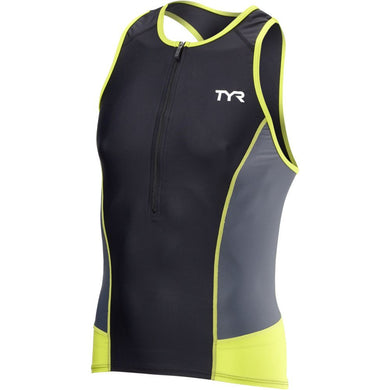 TYR Men's Competitor Tri Tank Black/Lime