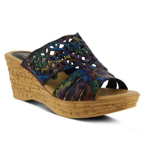 Spring Step Women's Viniko Slide Sandal Black Multi