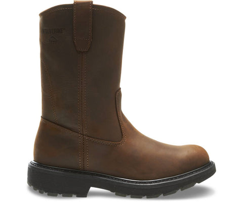 "Wolverine Men's Slip Resistant 10"" Wellington Work Boot - Dark Brown"