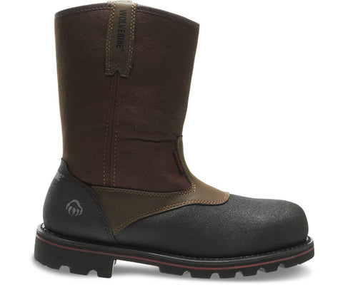 Wolverine Men's Drillbit Oil Rigger Waterproof Steel-Toe EH Wellington Work Boot - Real Brown