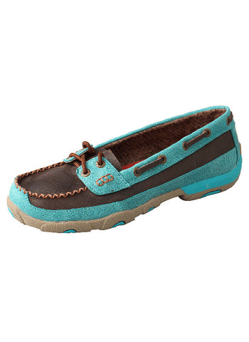 Twisted X Women's Driving Moccasin Brown/Turquoise
