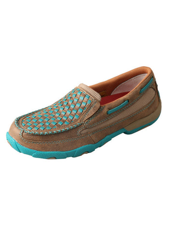 Twisted X Women's Slip-On Driving Moccasins Bomber/Turquoise