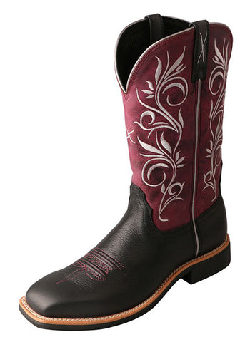 Twisted X Women's Top Hand Boot Softy Black/Maroon