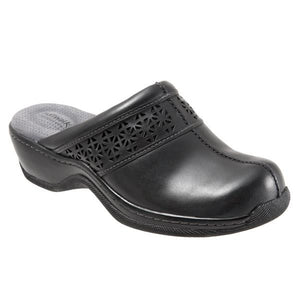 Softwalk Women's Abby Clog, Black Laser