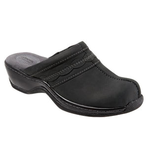 Softwalk Women's Abby Clog, Black Oily