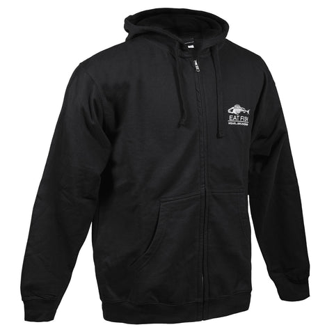 Grundens Men's Eat Fish Full Zip Hoodie, Black