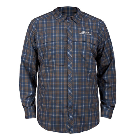 Grundens Men's Fly Bridge Long Sleeve Shirt, Dark Slate