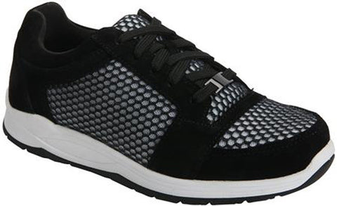 Drew Shoes Women's Gemini Shoes Black Suede/White Mesh