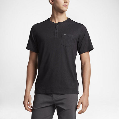 Hurley Men's Dri-Fit Lagos Henley, Black