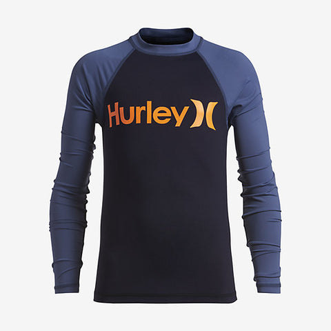 Hurley Boy's One And Only Long Sleeve Rashguard, Obsidian