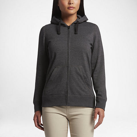 Hurley Women's Solid Icon Zip Fleece Hoodie, Black Heather